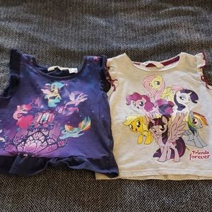 Lot of 2 H&M tees with my little pony screen print